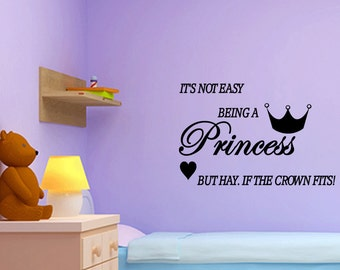 Wall Quotes It's Not Easy Being a Princess Vinyl Wall Decal Quote Removable Girls Room Wall Sticker Home Decor (C124)