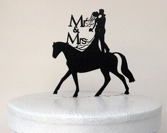 Wedding Cake Topper - Mr and Mrs with horse
