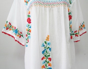 Embroidered Mexican Blouse White Cotton Top Boho Blouse Hippie Top, Peasant Blouse