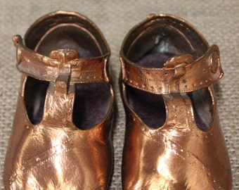 2-Piece Set | Vintage Copper Bronzed Baby Shoes