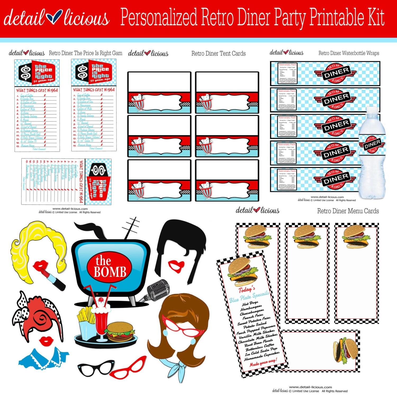 Retro Diner Kit Party Printable Diy Printable Retro Diner