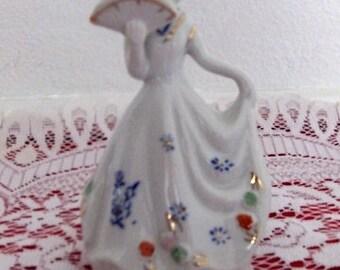 Vintage Southern Belle Lady Porcelain Bell Figurine