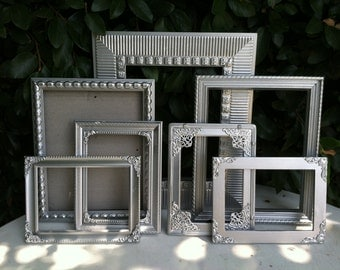 Silver Picture Frames, Set of 7, Ornate Picture Frames, Silver Wedding Frames, Baroque, Wedding, Nursery, Wall Gallery decor  (Los Angeles)
