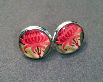 Pink Waratah Flower Resin Post Silver Necklace and or  Earrings