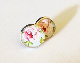 Pink Rose Resin Stud Silver Earrings