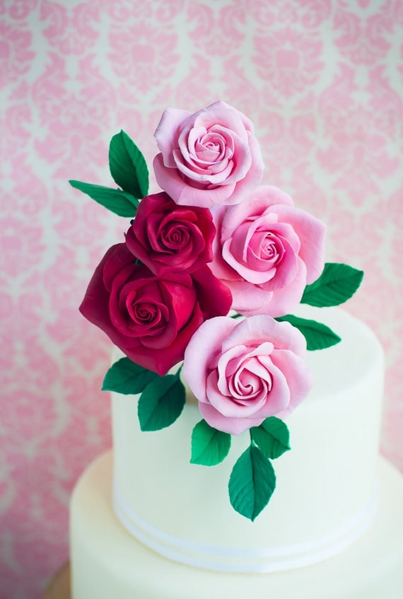 Wedding Cake Topper - Red and Pink Clay Rose arrangement -  Flower Cake Topper - made to order