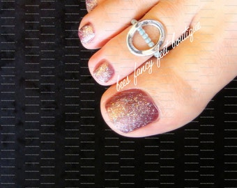 Toe Ring - Open Oval - Silver - Stretch Bead Toe Ring