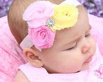 Rose Headband, Baby Triple Flower Band, Light Pink Yellow Shabby Flowers Hair Band, Newborn Infant Rose Flowers, Triple Flowers Accessories