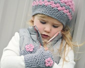 CUSTOM Slouchy Winter Hat and Fingerless Mitten Set Ladies Crochet Slouch and Gloves Wool Blend Girls Crochet Hat and Mittens MADE to ORDER