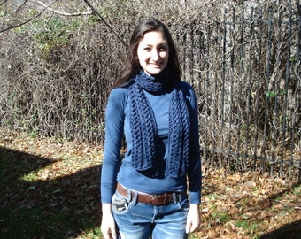 Dark Country Blue Scarf with Design