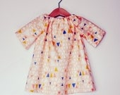 Peach triangle geometric print cotton toddler girls tunic dress top in age 1
