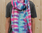 Magenta/Turquoise/Purple Tie-Dyed Washed Linen Scarf