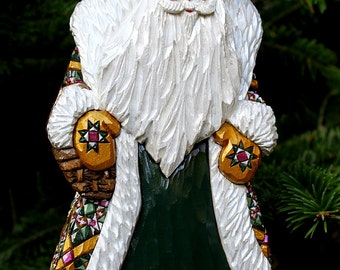 RESERVED ABrown - Wood Carved Russian Style Santa Quilted Robe Green Gold