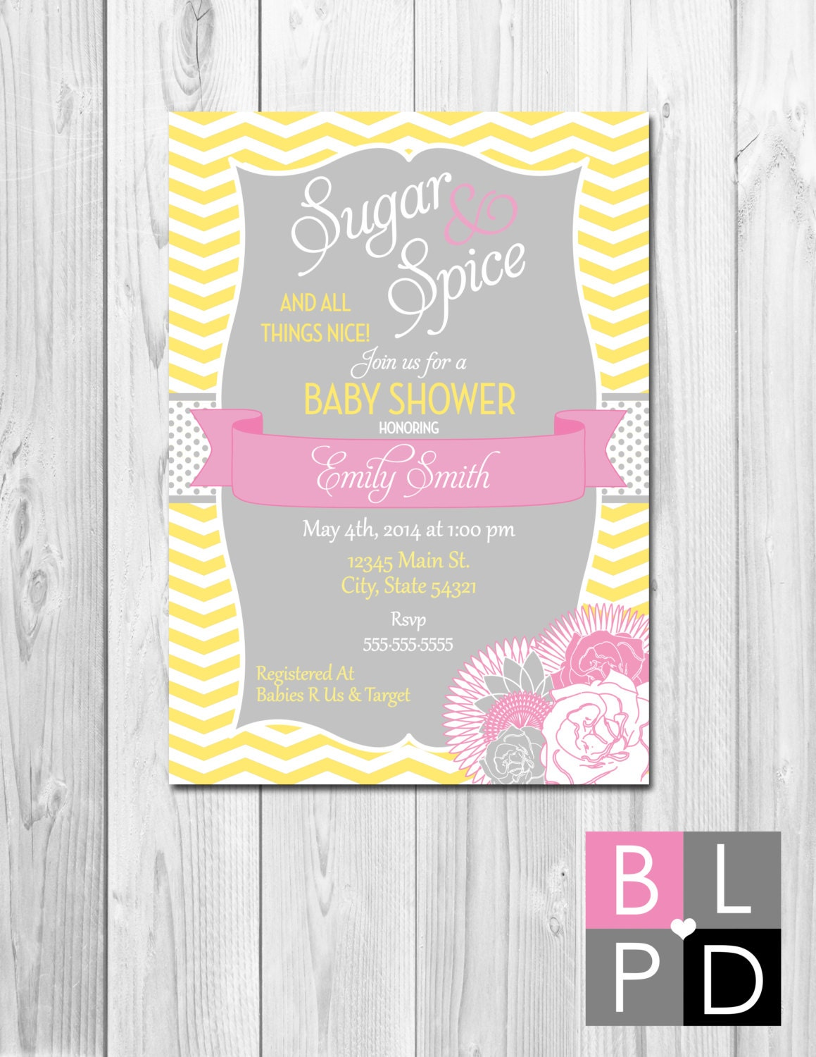 sugar spice baby shower invitation flowers chevron