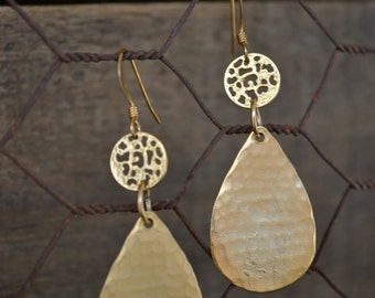 Hammered Gold Teardrop Earrings with Gold Lace Detail