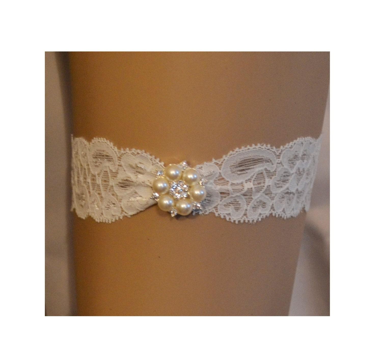Wedding Garter Single Bridal Garter Pearl & Rhinestone