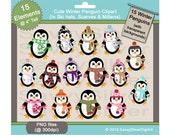 Printable Penguin Clipart - Instant Download, Digital Clipart, Winter Penguins, Cute Penguin Clip Art for Scrapbook Paper