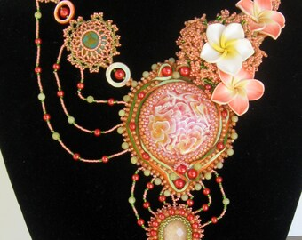 What a Peach!  OOAK Bead Embroidered Netted Necklace