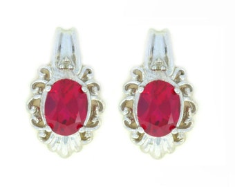 3 Ct Ruby & Diamond Oval Stud Earrings .925 Sterling Silver Rhodium Finish