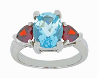 4 Ct Aquamarine Oval & Garnet Heart Ring .925 Sterling Silver Rhodium Finish