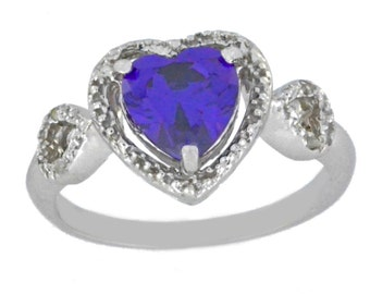 1.5 Ct Amethyst & Diamond Heart Ring .925 Sterling Silver Rhodium Finish