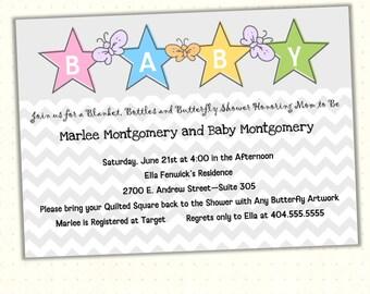 Baby Shower Invitation, boy, girl, chevron, butterflies, stars, sprinkle, gender neutral, gray, pink, blue, green, digital, printable B1441