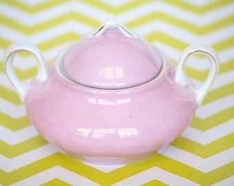 Sweet as Cotton Candy - Vintage Pink Iridescent G.H.B.Co. Bavaria Sugar Bowl