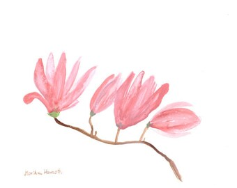 Pink magnolia, pink flowers watercolor, home decor, gift for her 10 x 7 inch