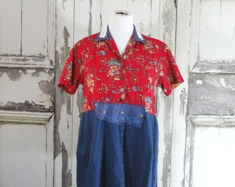 Sale Red and Denim Country Tunic Top Eco Fashion Upcycled Clothing Plus Size Western Style