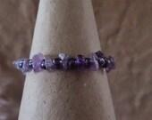 "Amethyst Chip Gemstone and Iridescent Purple Glass Bead Fidget Bracelet Measuring 5"""