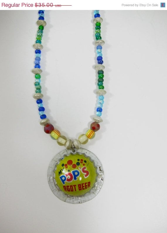 Root Beer Bottle Cap Charm and Multi-Color Bead Necklace