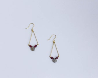 Garnet Labradorite Brass Geometric Earrings; Oxblood Burgundy Gray Brass Art Deco Geometric Drop Earrings; January Birthday Gift for Her