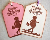 "Easter Tags w/ Little Girl and Basket, ""Easter Greetings"" -Set of 6 Gift Tags (Favors, Easter basket tags, candy bag tags, Easter gift wrap)"