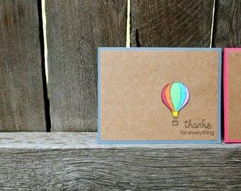 Hot Air Balloon Thank You, Summer Thank You, Set of 6