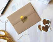 12 Large Rustic Gold Foil Heart Stickers | Envelope Seals | Gold Stickers | Rustic Stickers | Wedding Envelope Stickers | Gold Hearts | Gold