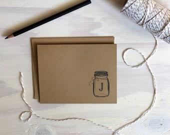 5 Rustic Kraft Mason Jar Monogram Stationery Cards, Mason Jar Cards, Rustic Stationery,  Stationery Set, Stationary, Personalized Cards