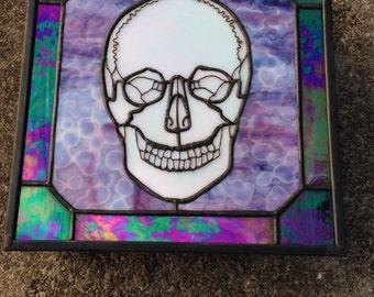 Purple stained glass skull box