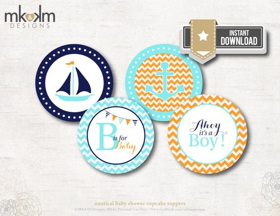 ahoy it 39 s a boy baby shower cupcake toppers party circles party