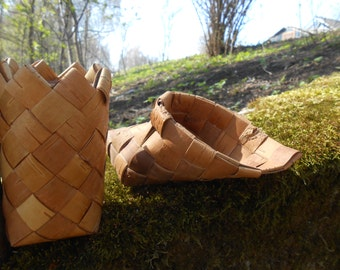 Vintage Swedish birch bark vase and shoe Set of 2 Rustic home kitchen decor Small baskets
