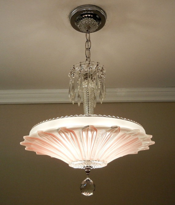 Vintage Art Deco Sunflower Chandelier 1940 S Chrome