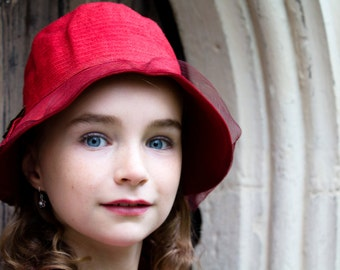 Portrait Photography - Girl in a Red Hat Fine Art Photograph - Child's Portrait Art Print - 8x12