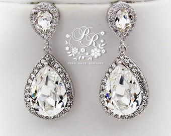 Wedding Earrings Swarovski Crystal Rhinestone Earrings Wedding Jewelry Brides Earrings Bridal Earrings Wedding Accessoriy Bridal Jewelry Mar