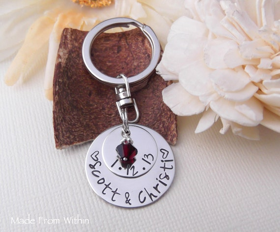 Hand Stamped Relationship Key Chain- Wedding Gift- BF/GF Relationship- Anniversary