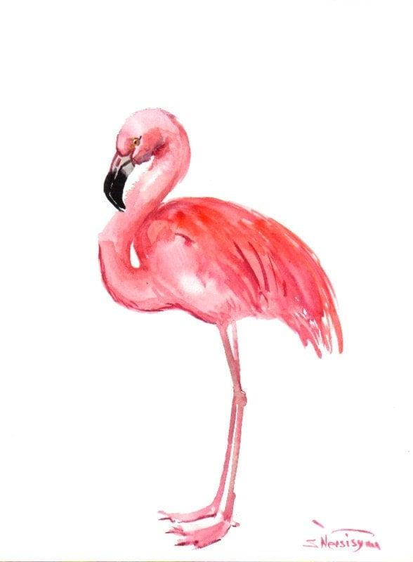 Flamingo Original watercolor painting 12 X 9 in pink white