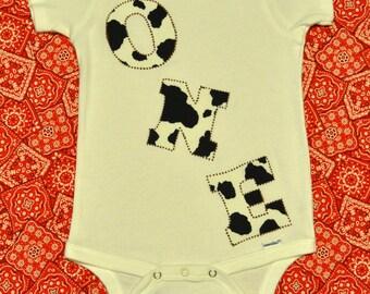 "Western Cowboy Cowprint ""ONE"" onesie, for one year old birthday, short/long sleeve"