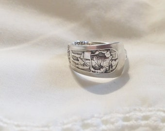 Beautiful Detailed Antique Sterling Silverware Ring