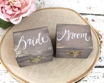 Burlap Bride & Groom Ring Bearer Pillow Boxes // SET of TWO // 4 Colors Available