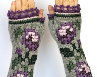 Hand Knitted Fingerless Gloves, Grey, Violet, Rose,Clothing And Accessories,Gloves & Mittens, Gift Ideas,