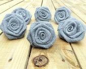 One Dozen Grey Burlap Roses - Rustic DIY Decor