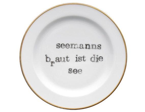 Seaman plate of Vintage handprinted 20 cm of Deko by  ~ Geschirr Vintage